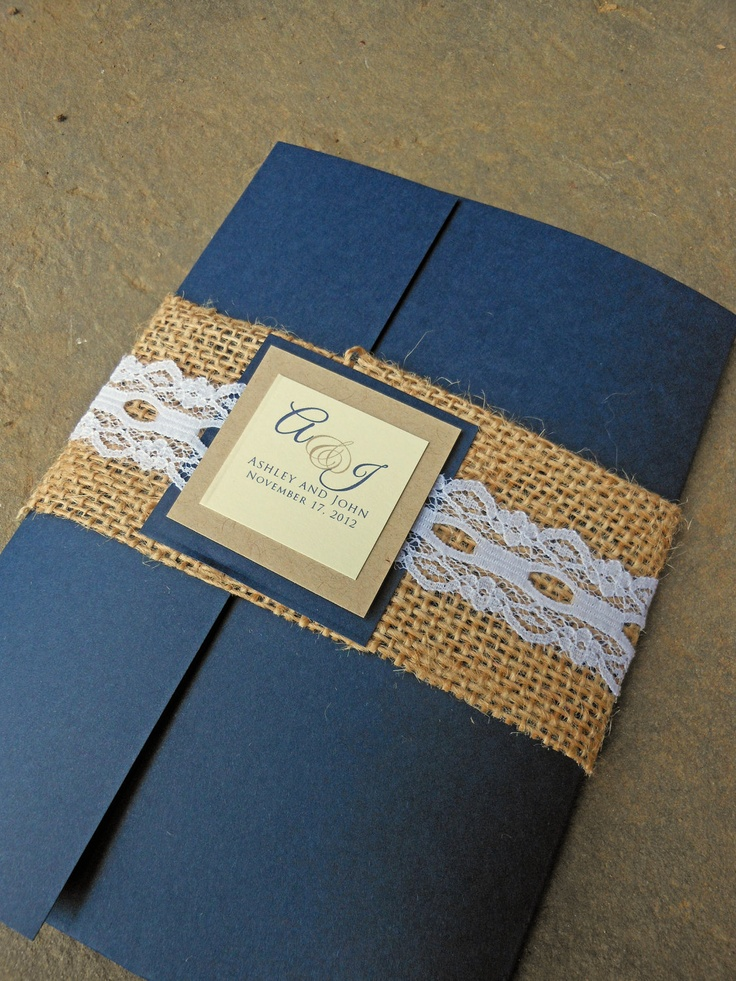 navy blue and kelly green wedding invitations%0A Burlap  u     Lace Wedding Invitation  Rustic Wedding  Burlap and Lace Burlap  Band  Burlap Wedding Invitations Navy Blue Brown Kraft Paper