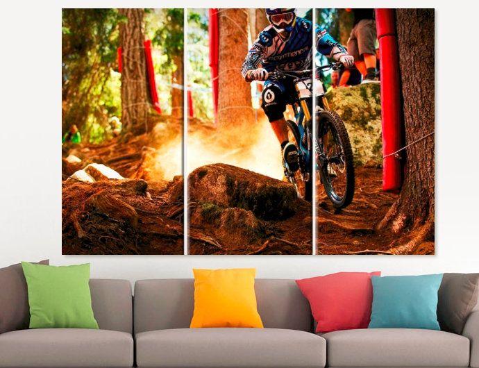 Mountain Bike Canvas Print Dirt Bike Wall Decor Velo Sport Gift