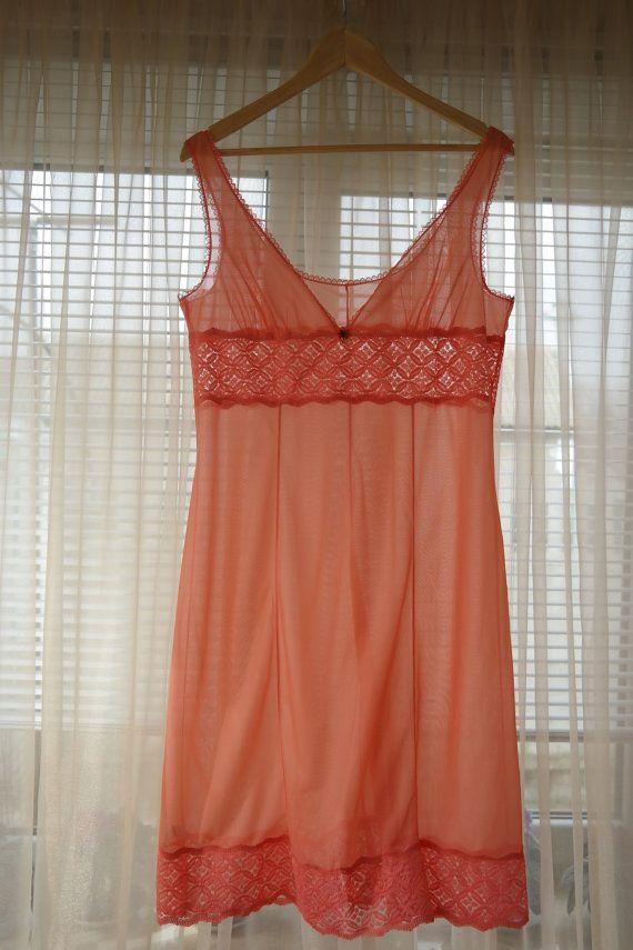 Pink nylon negligee dress / soviet vintage slip by OldTrunkFinds