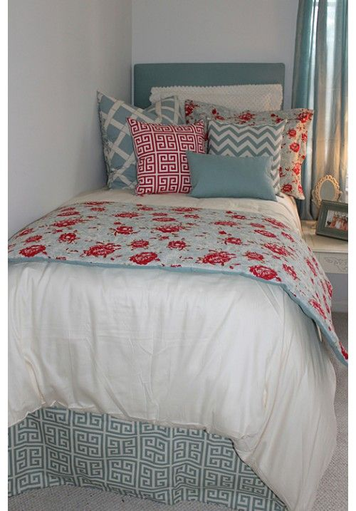 Shabby Chic Floral Designer Teen & Dorm Bed in a Bag | Teen Girl Dorm Room Bedding Gorgeous colors. sure to be a season favorite!