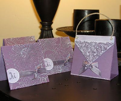 Mel Stampz: Three inch by Three inch notecard Purse (faux suede +more glue pen embossing)