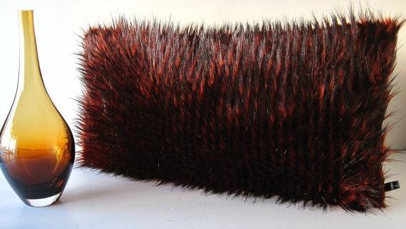 Raccoon Red and Black Faux Fur Decorative by WilhelminaJacobsLA, $69.99