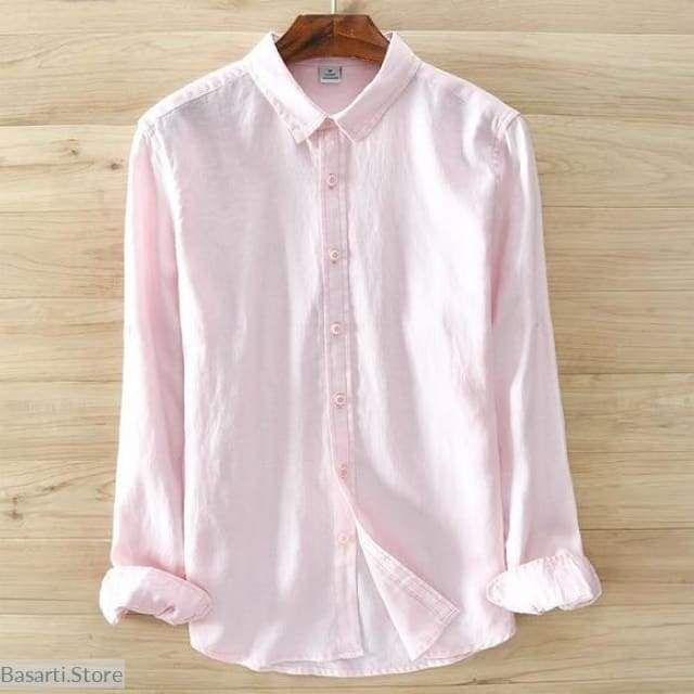 Classic 100 Linen Long Sleeve Shirt For Men Linen Shirt Men Mens Tops Casual Linen Casual