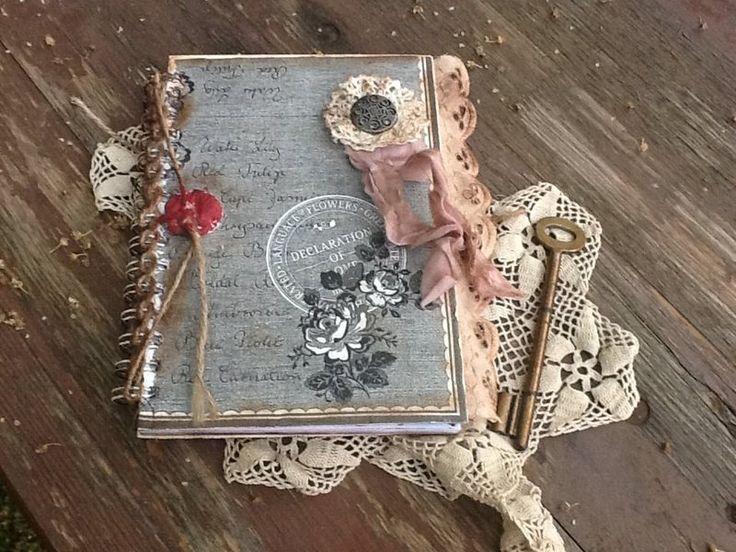 Poesiealben - Notizbuch Heft Nostalgie Decoupage Spitze Anhänger - ein Designerstück von Bergaz-art bei DaWanda (22€)