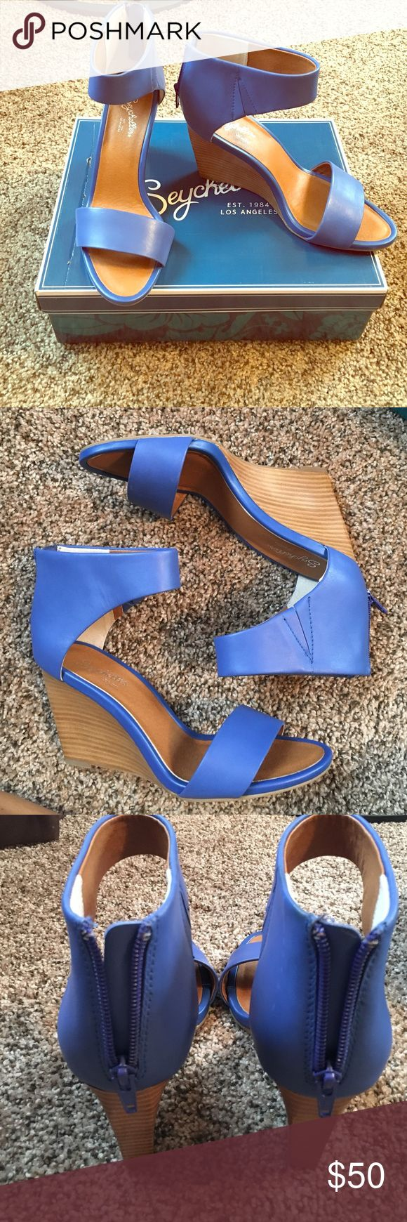 ROYAL BLUE ankle strap wedges SEYCHELLES brand. A beautiful royal blue. NEVER WORN. They do run probably a half size bigger. Box included. Seychelles Shoes Wedges