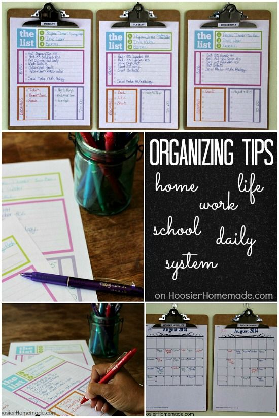 Home Organizing Tips: Daily System   Tackle your busy life with this daily schedule   Details on HoosierHomemade.com
