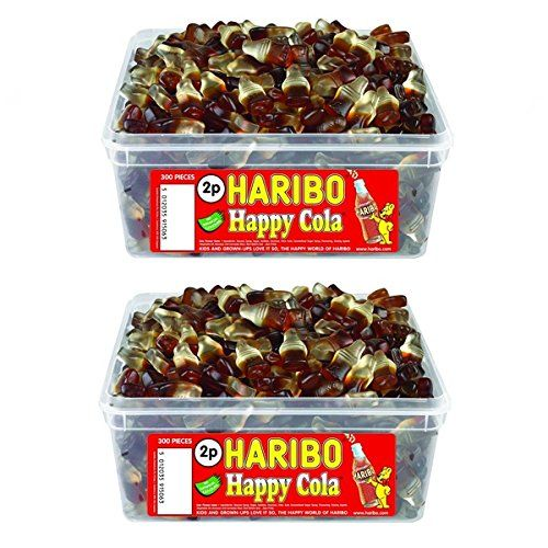 2 x Full Tubs Haribo Sweets Party Favours Treats Candy Box Wholesale (Cola Bottles)