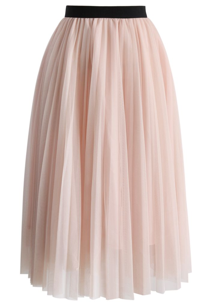 Dreamy Pink Mesh Pleats Tulle Skirt - Buyer's Pick - Retro, Indie and Unique Fashion