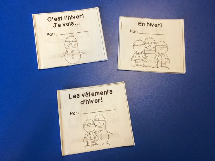 Primary French Immersion Resources: French winter mini books + shadow puppet