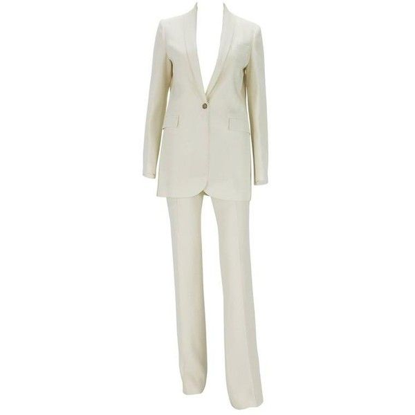 Preowned New $2760 Gucci Alabaster Satin Women's Pant Suit It. 40 - Us... (€1.540) ❤ liked on Polyvore featuring suits, beige and trouser pant suits