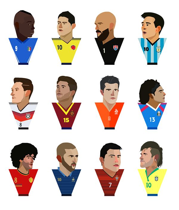 Some of the players in personal design - Brazil FIFA World Cup 2014