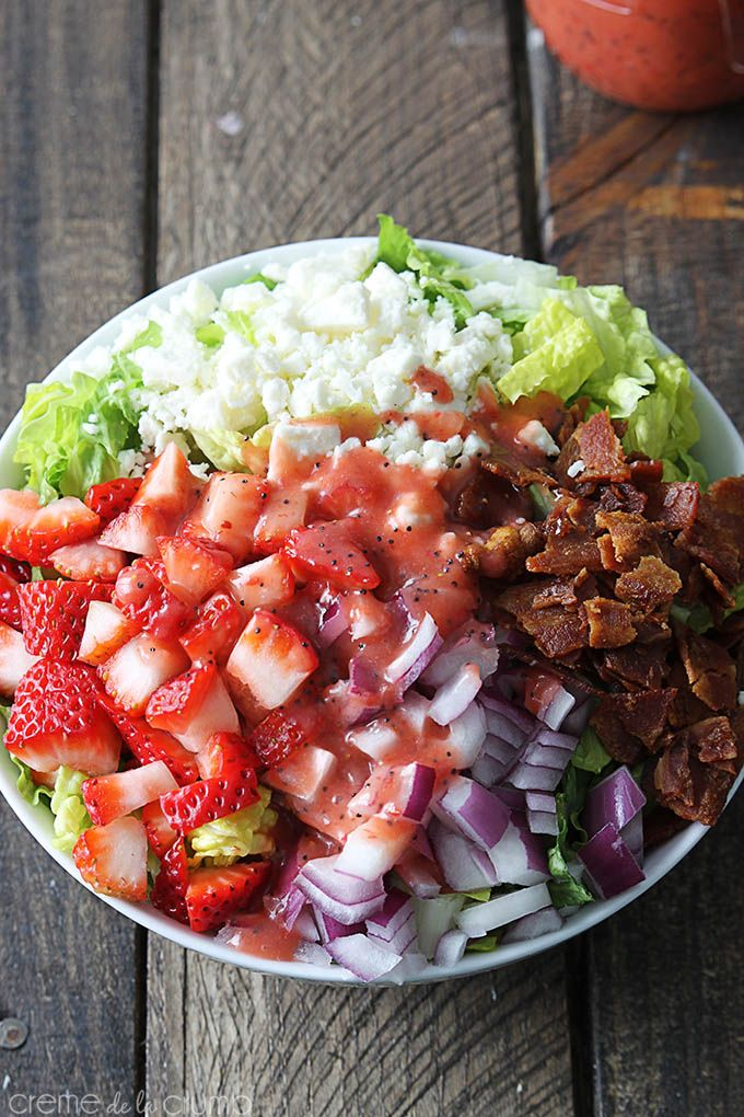Strawberry Poppyseed and Bacon Chopped Salad - Creme De La Crumb