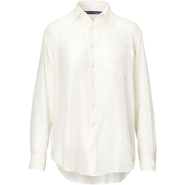 Ralph Lauren Damien Cotton Shirt (€800) ❤ liked on Polyvore featuring tops, white cotton tops, woven cotton shirt, cotton shirts, white tops and shirt top