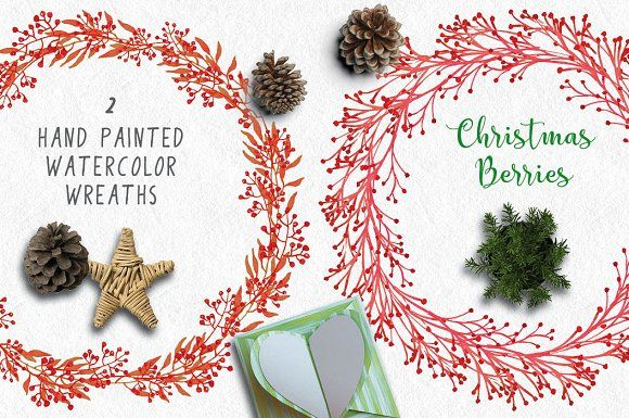 Christmas wreaths of red berries by Lolly's Lane Shoppe on @creativemarket