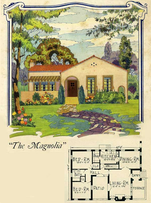 1925 Magnolia - California patio-style bungalow plan - Radford  Such a cute little house.  Except for the size of the closets.