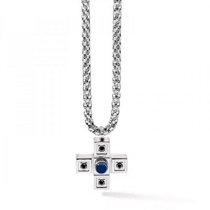 Comete Gioielli uomo Collana con croce in acciaio e zaffiro blu UGL 369