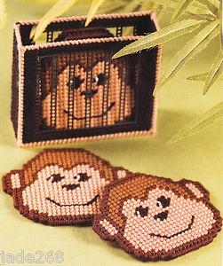 free plastic canvas coaster patterns | Monkey Coaster Set Plastic Canvas Pattern | eBay