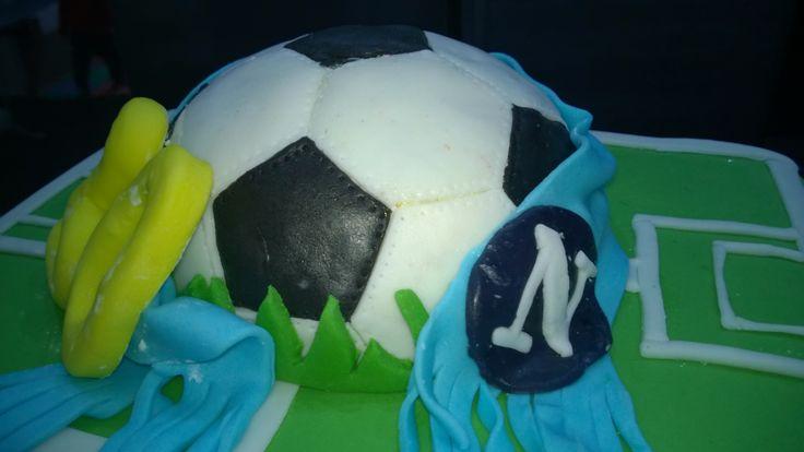 Cakes, torta, pasta di zucchero, fondant, mmf, pdz, erba, campo calcio,  napoli soccer, birthday, compleanno, blue ,green, verde, bandiera,sciarpa, pallone, football,club football, soccer club