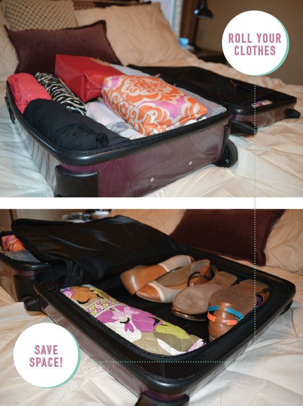 Pack a ton of clothes in a carry-on bag...all you do it roll your clothes!   How to: Pack a Suitcase