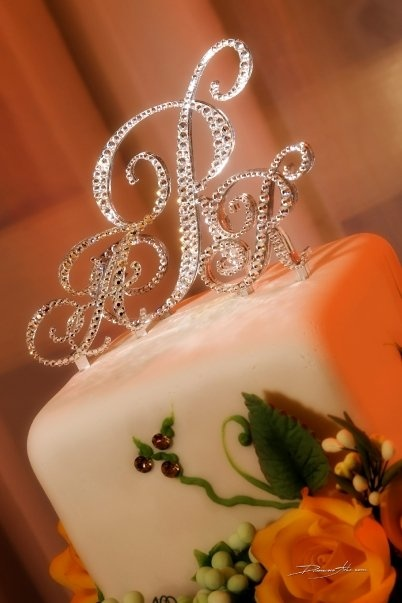 sparkle wedding cake toppers beautiful bling rhinestone monogram wedding cake topper 20305