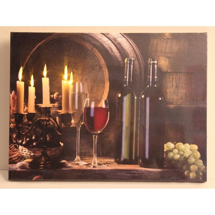 "LED Lighted Flickering Candles and Wine (Red) Canvas Wall Art 11.75"" x 15.75"""