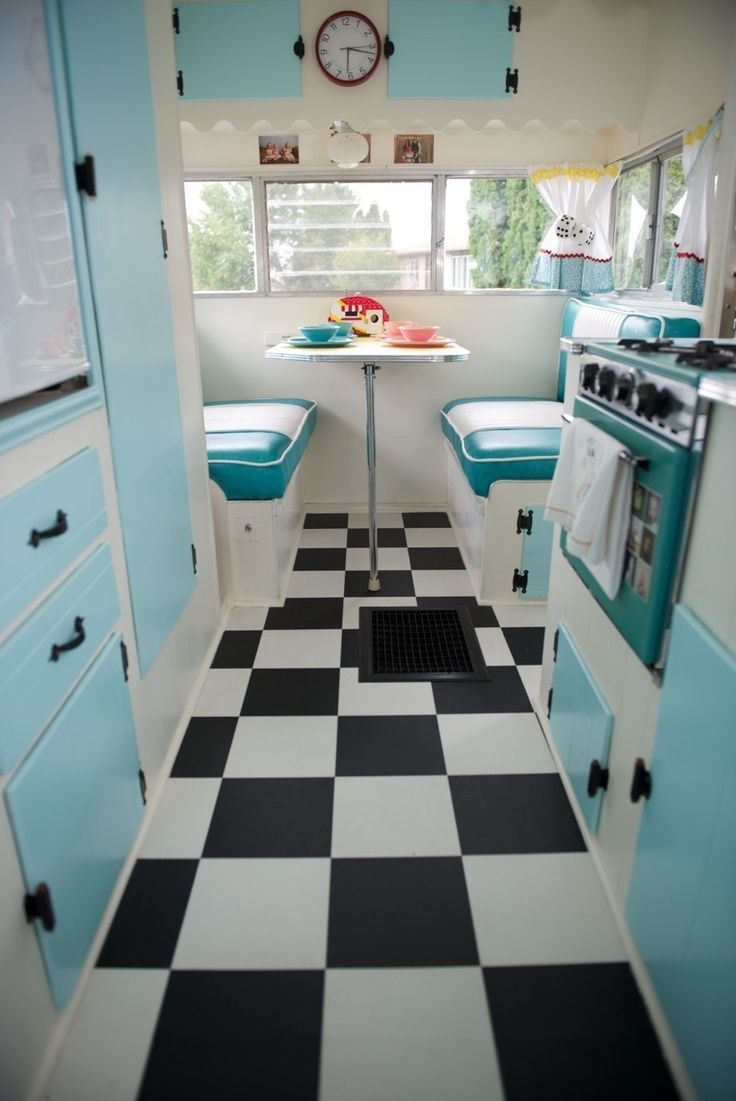 Updated travel trailer with black and white checked floor... this is what I am thinking about for my camper, took the flooring up out of my kitchen and only a few yrs old