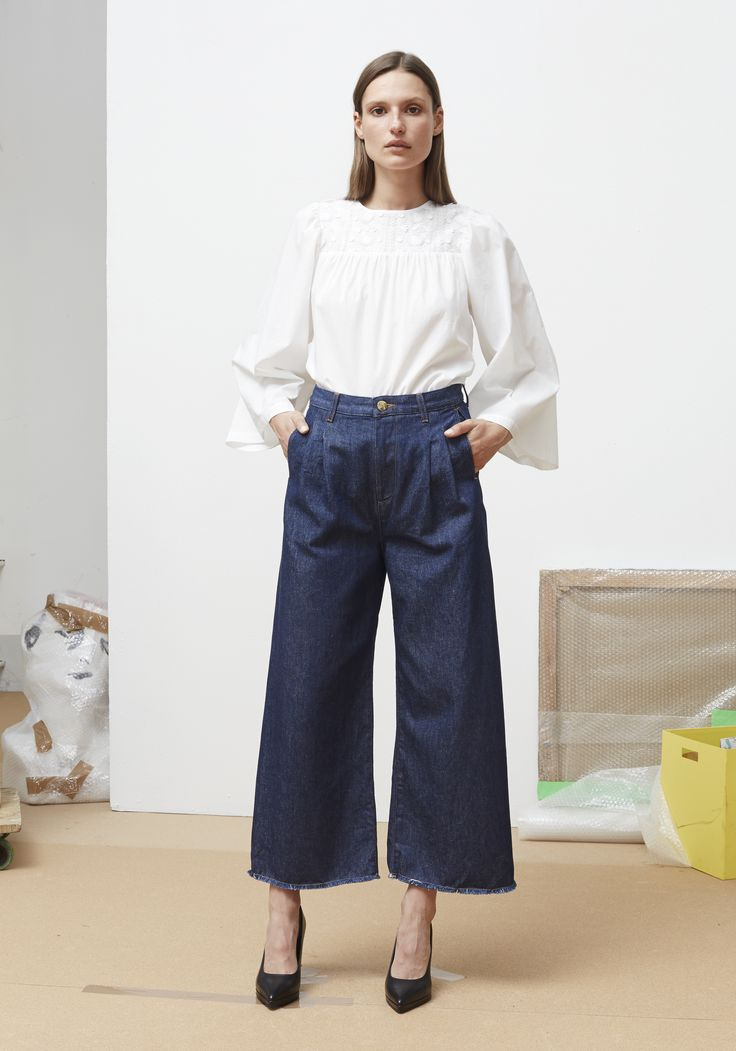 Rodebjer SS16: Top Miri White, Trousers Mina Denim Blue, Shoes Charlotte Black.