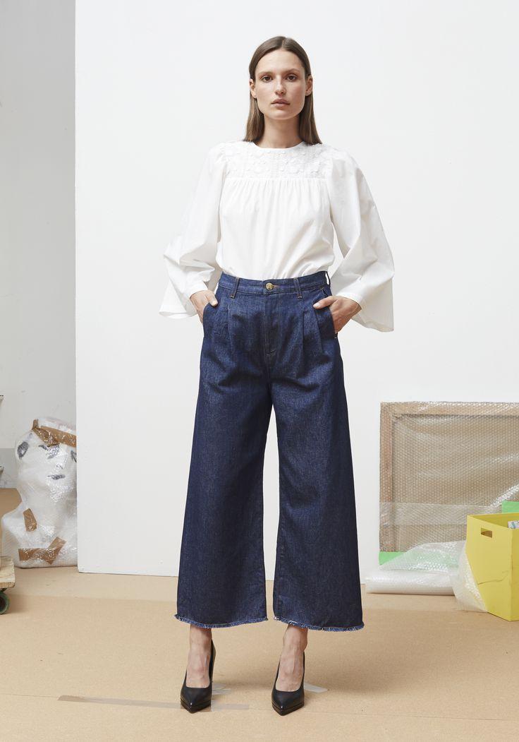 Rodebjer SS16: Top Miri White, Trousers Mina Denim Blue, Shoes Charlotte Black.