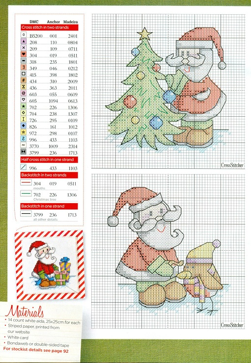 Cross Stitch - Santa decorating tree and Santa with penguin 1 of 2