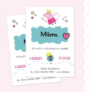 Invitación imprimible de Peppa! Mirá todas las fotos del kit en www.cumplekits.com