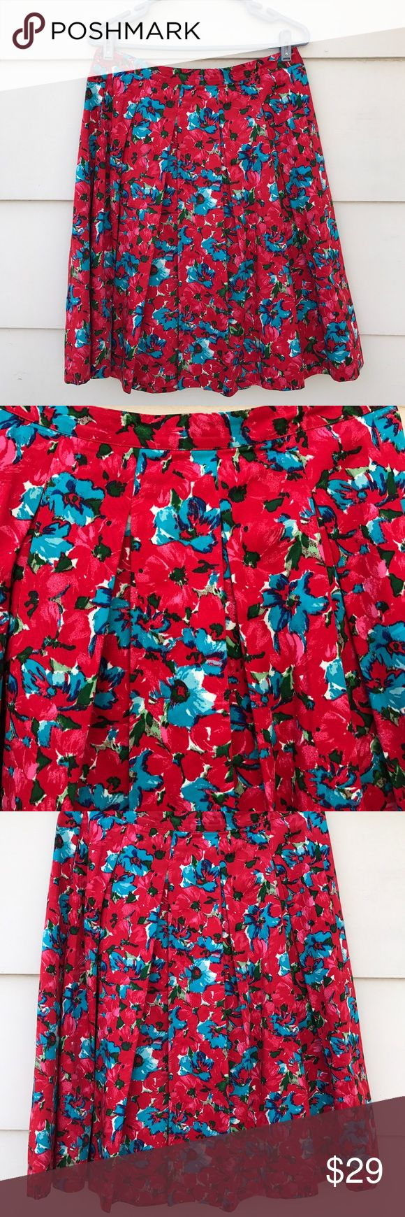"""Talbots Women's Career Floral Pleated Midi Skirt Lovely Talbots women's career red floral midi skirt Size 6 back zipper lined and pleated. Condition. New with tag. Measurements. waist 32"""" hip 40"""" overall length 25"""" Materials. shell 97% cotton 3% elastane 100% lining. Talbots Skirts Midi"""