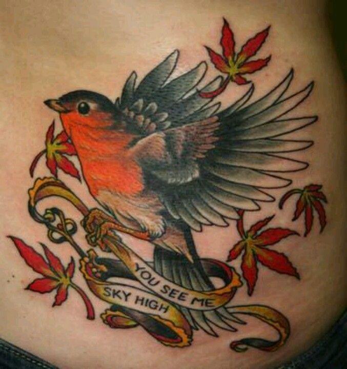 Red robin bird tattoo - photo#12