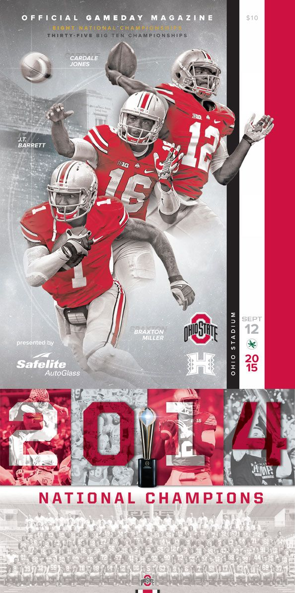A limited edition collectible 2014 Ohio State Buckeyes Football National Champions Poster included with all official 2015 Ohio State vs. Hawaii Gameday Magazines. #GoBucks #OSU