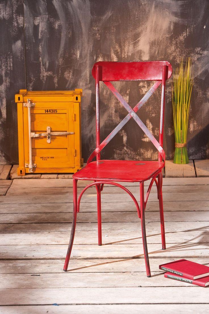 Coppia di 2 sedie mescita industriale metallo rosso COFFEE