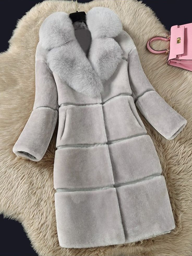 Warm Winter Solid Color Long Sleeve Faux Fur Hooded Coat