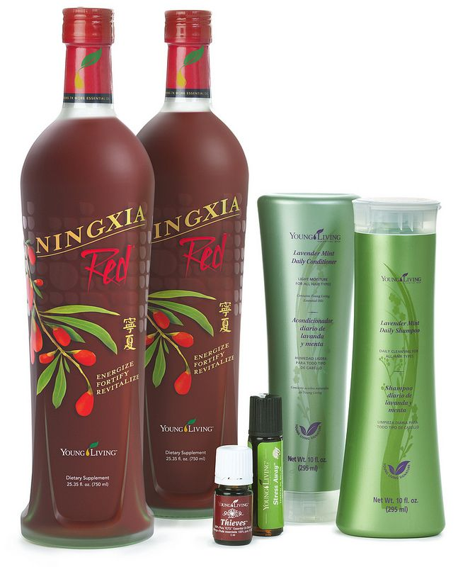 Lifestyle Essential Rewards Kit - Comes with a 2 pack of NingXia Red, 5-ml Thieves essential oil blend, Lavender Mint Shampoo and Conditioner, and Stress Away Roll-On.  http://www.nancywebbtodd.com/save-money-with-the-new-essential-rewards-kits/