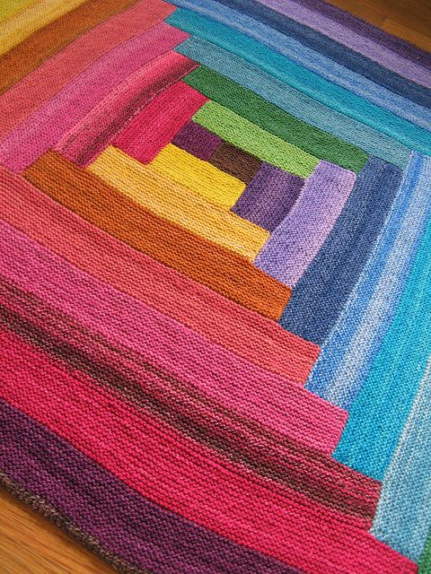 blanket: Handspun Rainbow, Rainbow Log, Color, Log Cabins, Crochet Blanket, B...