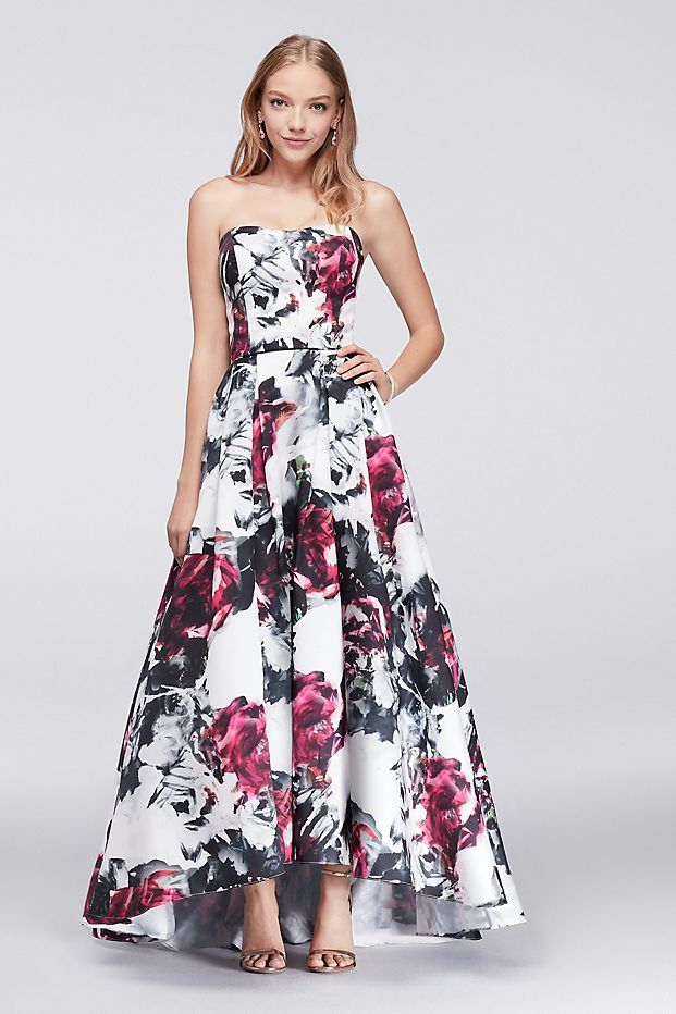 63acf2293 High-Low Floral Satin Ball Gown
