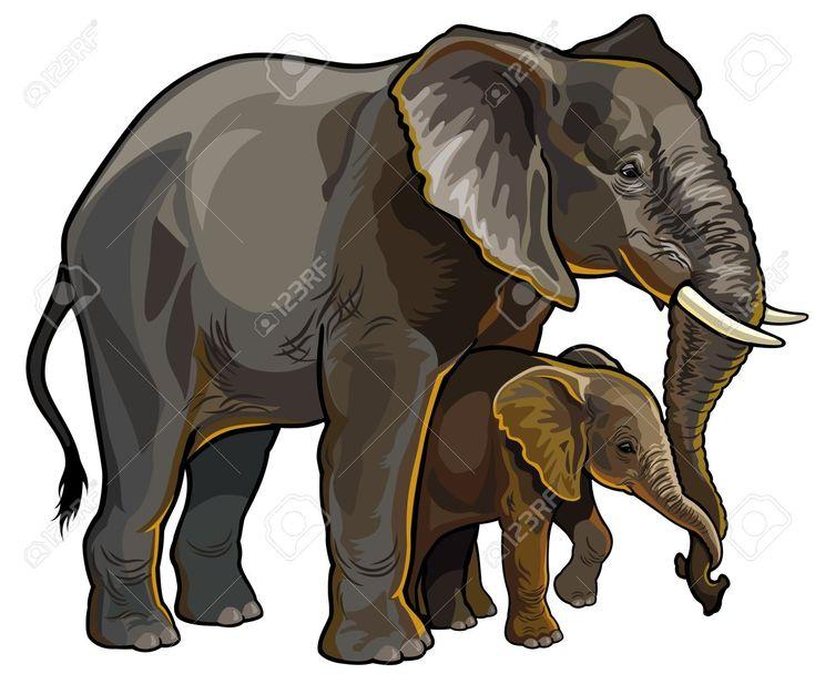 Afrikanischer Elefant Mit Baby Seitenansicht Darstellung Auf Weißem Hintergrund Isoliert Lizenzfrei Nutzbare Vektorgrafiken, Clip Arts, Illustrationen. Image 22110181.