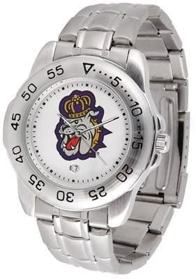 James Madison Dukes JMU NCAA Mens Sports Steel Watch by SunTime. $54.95. Links Make Watch Adjustable. Calendar Function With Rotating Bezel. Men. Officially Licensed James Madison Dukes Men's Stainless Steel Logo Watch. Stainless Steel-Scratch Resistant Crystal. This handsome eye-catching Mens Sport Watch with Steel Band comes with a stainless steel link bracelet. A date calendar function plus a rotating bezel/timer circles the scratch resistant crystal. Sport the bol...