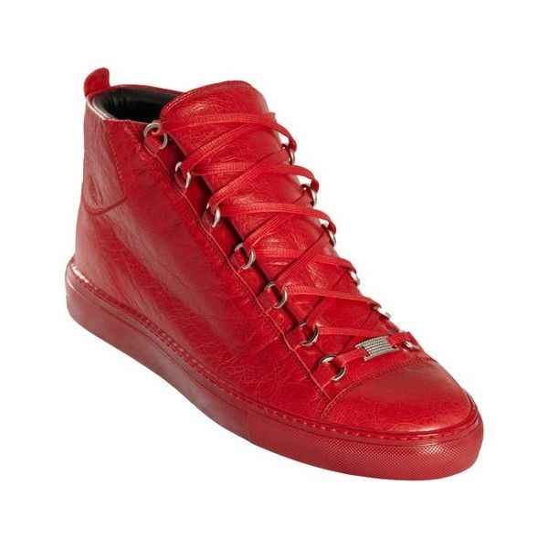 Balenciaga Red High Top Sneakers ❤ liked on Polyvore featuring shoes, sneakers, red high tops, red hi top sneakers, balenciaga sneakers, hi tops and high top sneakers