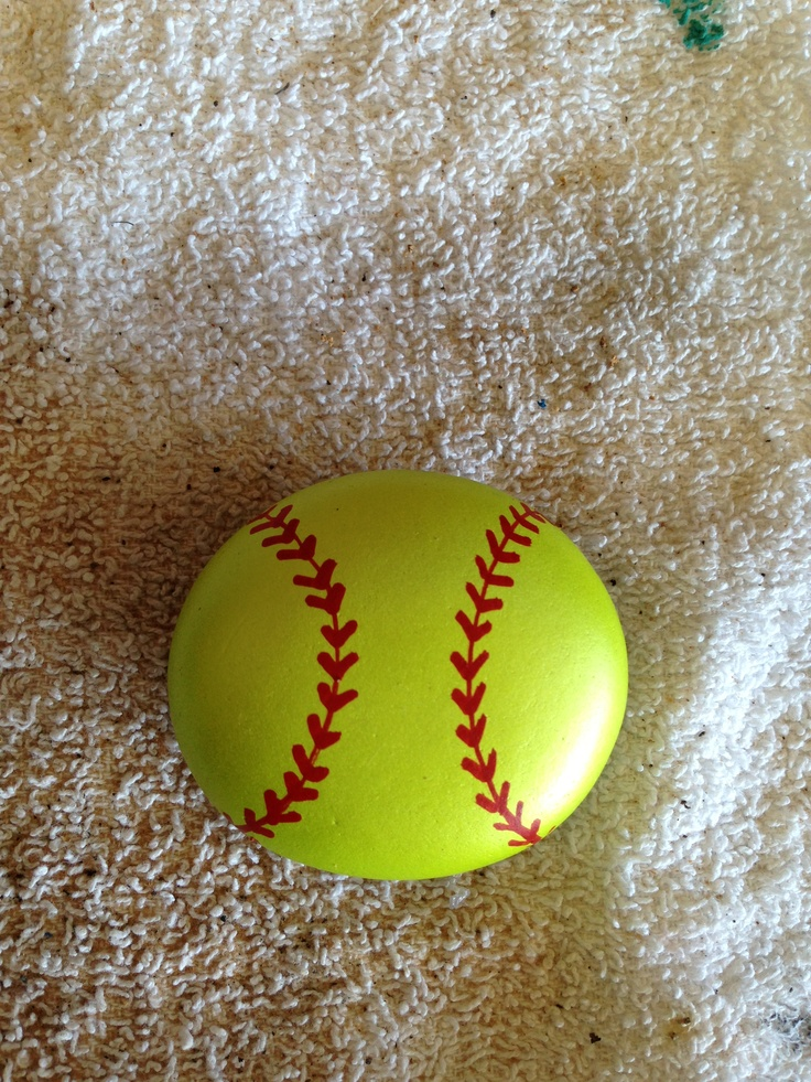 Painted softball stone SNS DESIGNS