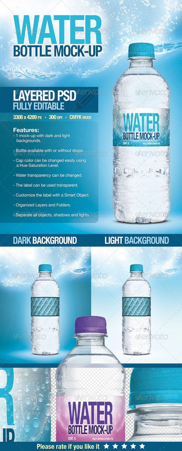 Mock-Up Botella de Agua / Mock-Up Water Bottle   Vectorizando y Compartiendo