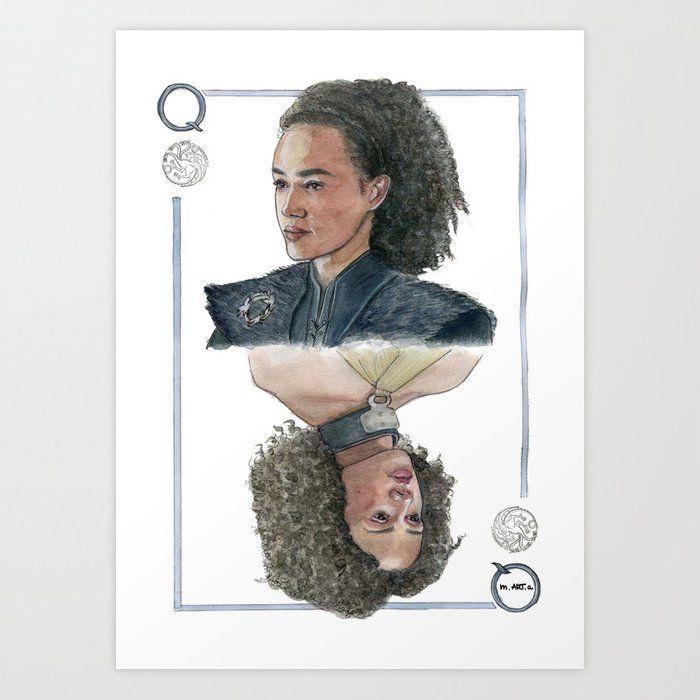 Missandei Of Naath Print Watercolor Portrait Game Of Thrones Fanart Nathalie Emmanuel Playing Card Http Instagram Com M Art A Art Prints Art Prints
