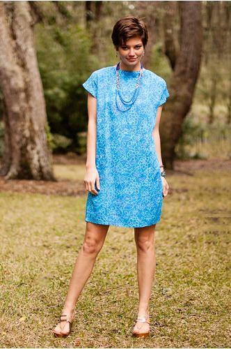 Waterfront Batik Dress | Knee length dress | Indonesia | blue batik dress | shopgofish.com