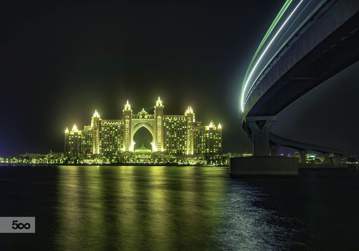 The Atlantis Hotel in Dubai, with the monorail for visitors overhead.