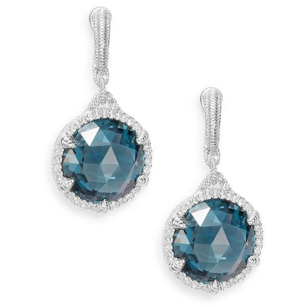 Judith Ripka Eclipse London Blue Spinel, White Sapphire & Sterling... ($308) ❤ liked on Polyvore featuring jewelry, earrings, facet jewelry, spinel earrings, spinel jewelry, white sapphire earrings and blue earrings