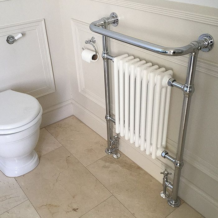 The Draycott Heated Towel Rail.The Draycott bathroom radiator range is hand-made from DZR brass in the UK. This traditional heated towel rail has been designed with a steel column radiator insert and is floor and wall mounted.  Our heated towel rails are predominantly designed for bathroom fitting.  The towel warmer is hand crafted from DZR brass in 32mm diameter tubing and solid brass fittings. Polished by hand to achieve a high quality durable finish.