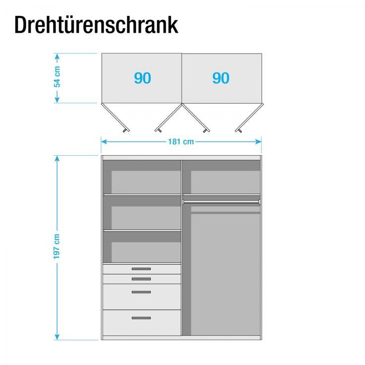 Drehtürenschrank Homburg - Hochglanz Alpinweiß - 181 cm (4-türig) - Mit Spiegeltür/-en