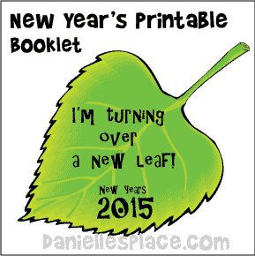 "New Year Craft - ""I'm Turning Over a New Leaf"" Printable New Years Booklet from www.daniellesplace.com"